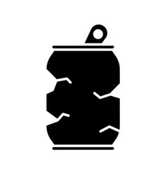 Cutout silhouette crushed tin can outline icon of vector