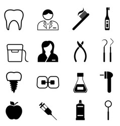 dental health and dentist icons vector image