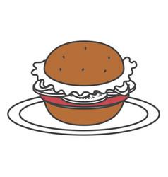Dish with delicious hamburger fast food vector