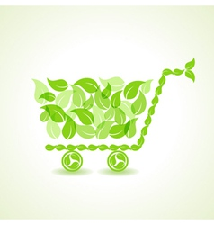 Eco shopping cart with group of green leaf stock vector