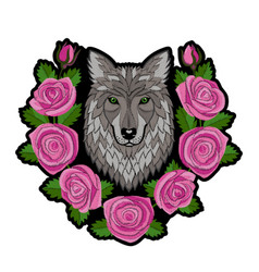 Embroidery wolf and roses patch vector