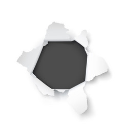 Explosion paper hole on white background vector
