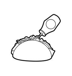 fast food taco mexican ketchup bottle menu vector image