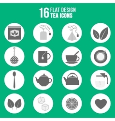Flat design tea icons set vector image