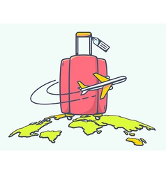 Flying air plane around red suitcase vector