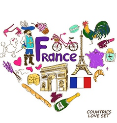 French symbols in heart shape concept vector image