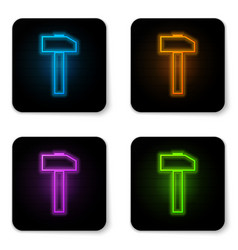glowing neon hammer icon isolated on white vector image