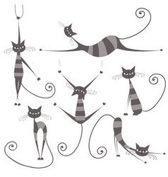 grey striped cats vector image