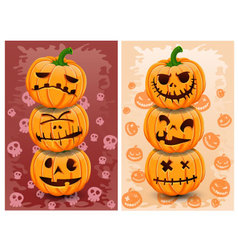 Halloween pumpkins and background set 3 vector