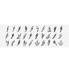 hand drawn lightning doodle set vector image