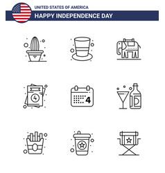 Happy independence day 4th july set 9 lines vector