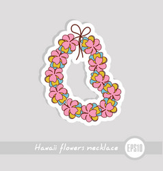 Hawaii flowers necklace wreath icon vacation vector
