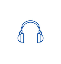 headphones line icon concept headphones flat vector image