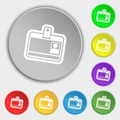 Id card icon sign Symbol on eight flat buttons vector image