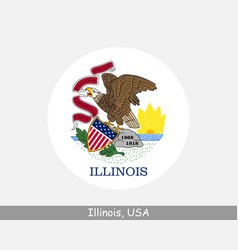 illinois round circle flag vector image