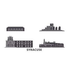 Italy syracuse flat travel skyline set italy vector