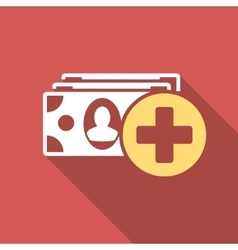 Medical Expences Flat Square Icon with Long Shadow vector image