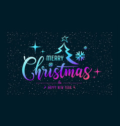 merry christmas message colorful at star night vector image