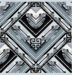 Modern geometric meander seamless pattern grunge vector