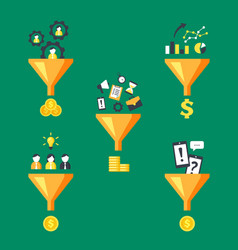 money funnels converters set marketing vector image