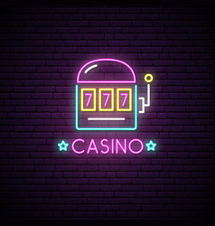neon sign of casino neon emblem gambling vector image