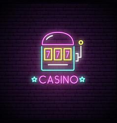 neon sign of casino neon emblem gambling vector image