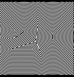 Number 20 typography contour black vector