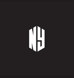 Ny logo monogram with hexagon shape style design vector