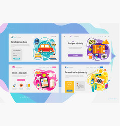 one page website kit for time for travel concept vector image