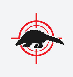 pangolin black silhouette on red target vector image