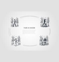 park in winter - people walking in in winter vector image