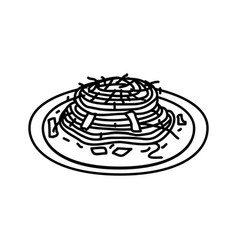 Pasta carbonara icon doodle hand drawn or outline vector