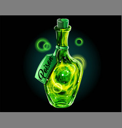 poison in magic bottle a green universe in a jar vector image