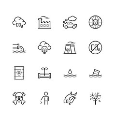 pollution icon set in thin line style vector image