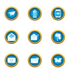 Postal parcel icons set flat style vector