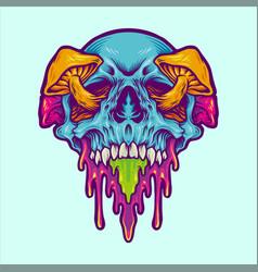 Psychedelic skull magic mushroom vector