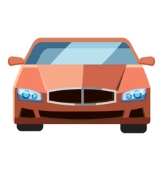 Red car front view icon isometric 3d style vector