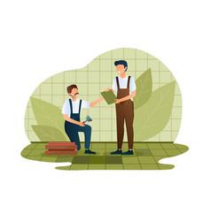 Repairmans fixing tiles to floor concepts vector