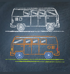 Retro minivan sketch on chalkboard vector