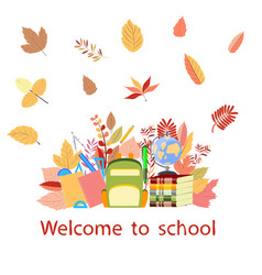school supplies and autumn leaves vector image