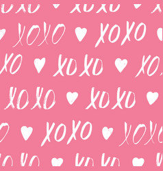 seamless pattern with xoxo phrase vector image