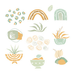 Set abstract aesthetic shapes hand drawn vector