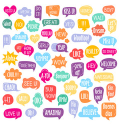 set different shape colorful speech bubbles vector image