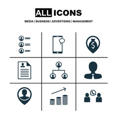 Set of 9 human resources icons includes money vector