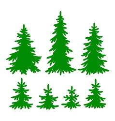 set of fir-trees silhouettes vector image