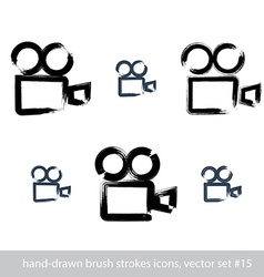 Set of realistic ink hand-drawn stroke video vector image