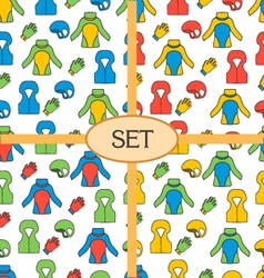 Set of seamless pattern with equipment for vector image