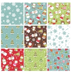 Set of winter Holiday seamless background vector image