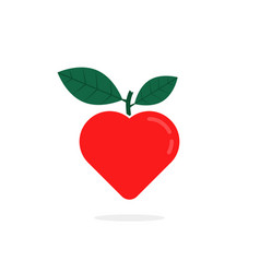 simple red heart with leaf logo vector image