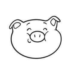 Smiling emoticon icon emoji pig for coloring book vector